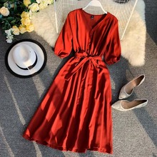 NiceMix Women Dress 2019 Summer Korean version fashion literary small fresh solid color Chiffon Dress V-neck belt long dress Ves цены