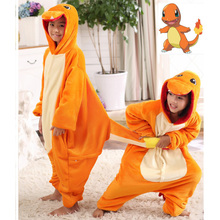 Pokemon Charmander Cosplay Jumpsuit Costume Kids Clothing Flannel baby Blanket Sleeper Boy Girl Piece pajamas Halloween Carnival(China)