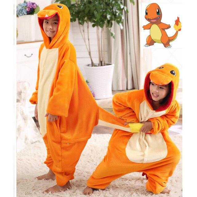 pokemon charmander cosplay jumpsuit costume kids clothing flannel baby blanket sleeper boy girl piece pajamas halloween