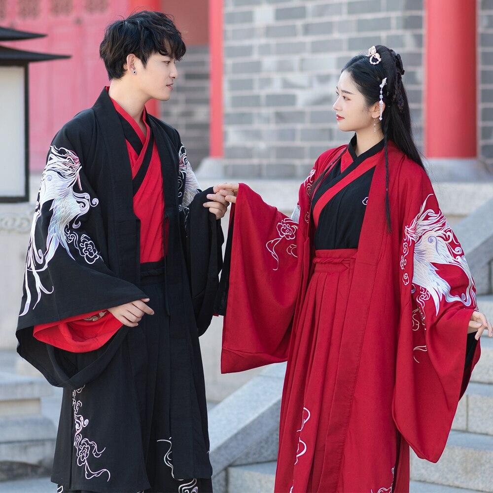 Ancienne dynastie Wei Jin couples' Hanfu vêtements rouge noir robe de mariée grandes manches robe de soirée Guangdong broderie Phoenix