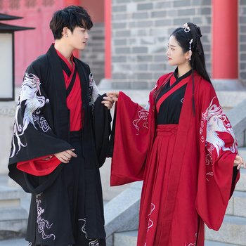 Ancient Dynasty Wei Jin couples Hanfu clothes red Black wedding dress Big sleeves Evening Gown Guangdong embroidery Phoenix