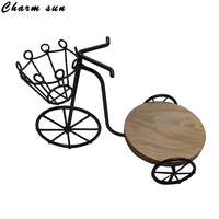 Iron Art Bicycle Flower Fairy Garden Miniatures Crafts Decoration Wooden Home Ornaments Accessories