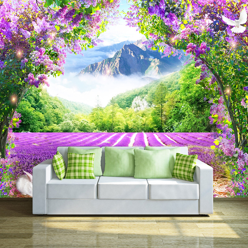 Custom Photo Wallpaper Fresh Lavender Flower Vine Arch 3D Wallpaper Modern Living Room Bedroom Sofa Decoration Papel De Parede