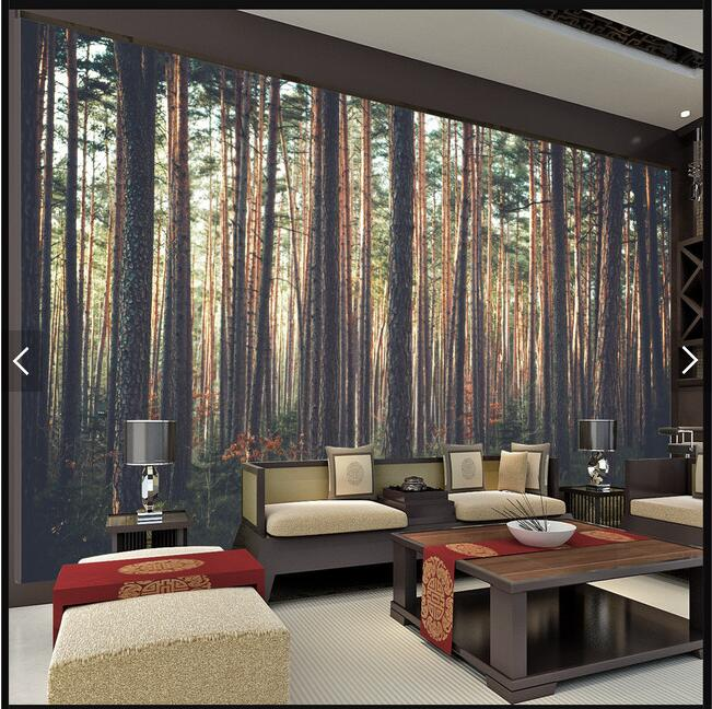 Modern Behang Woonkamer Forest Scenic And Warm Sun Mural Wallpaper Lounge Cafe
