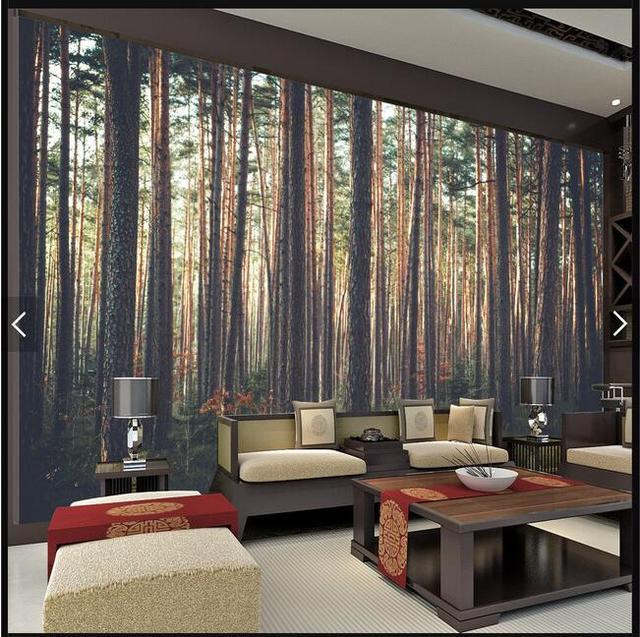 bos schilderachtige en warme zon muurschildering behang behang cafe ...