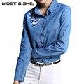 Nova Camisa Jeans Bordado Primavera Outono Mulheres Manga Comprida Fina T6D9262Y Azul Jeans Tops Blusas Blusas Feminina de Alta Qualidade