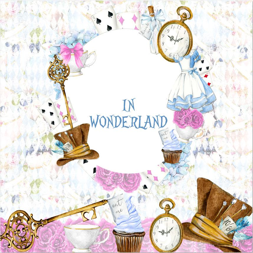 custom Alice Wonderland Cards Clock Stick Dress flower Baby Shower backdrop High quality Computer printed wall backdrop