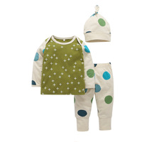 candy baby polka dot long sleeve t-shirt trousers hat three pieces boy and girl fall clothes