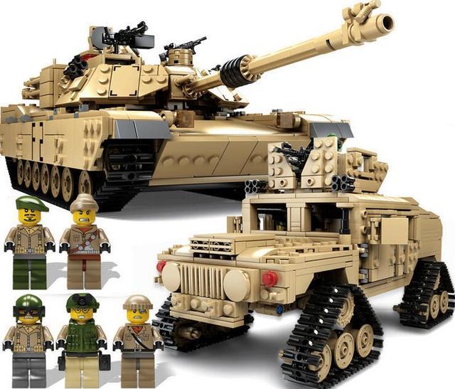 Deformación KAZI NUEVO Siglo 10000 M1A2 Abrams Tanque Militar Cannon coches hummer Envío Libre Bloques de Construcción de juguetes para los niños