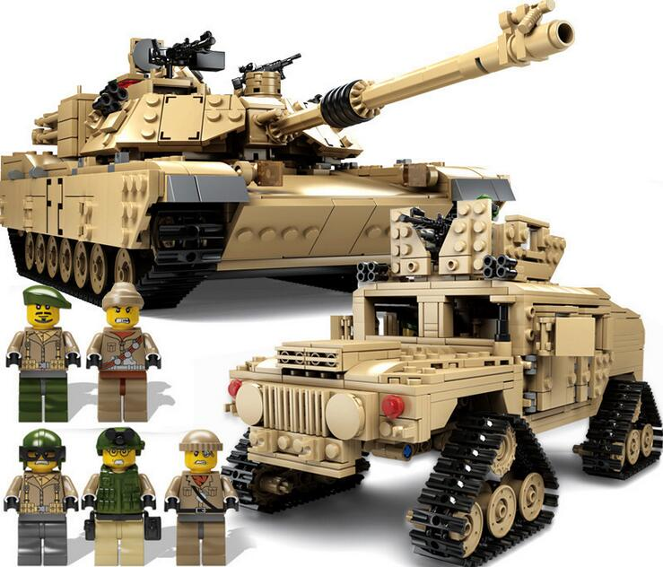 KAZI NEW 10000 Century Military M1A2 Abrams Tank Cannon Deformation hummer cars Building Free Shipping Blocks toys for children kazi large military 1463pcs 2in1 tank hummer building blocks bricks army war models toys for boys children compatible lepin