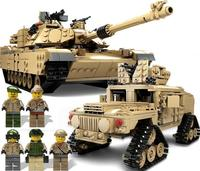 2017 NEW KAZI 10000 Century Military M1A2 Abrams Tank Cannon Deformation Hummer Cars Building Blocks Toys