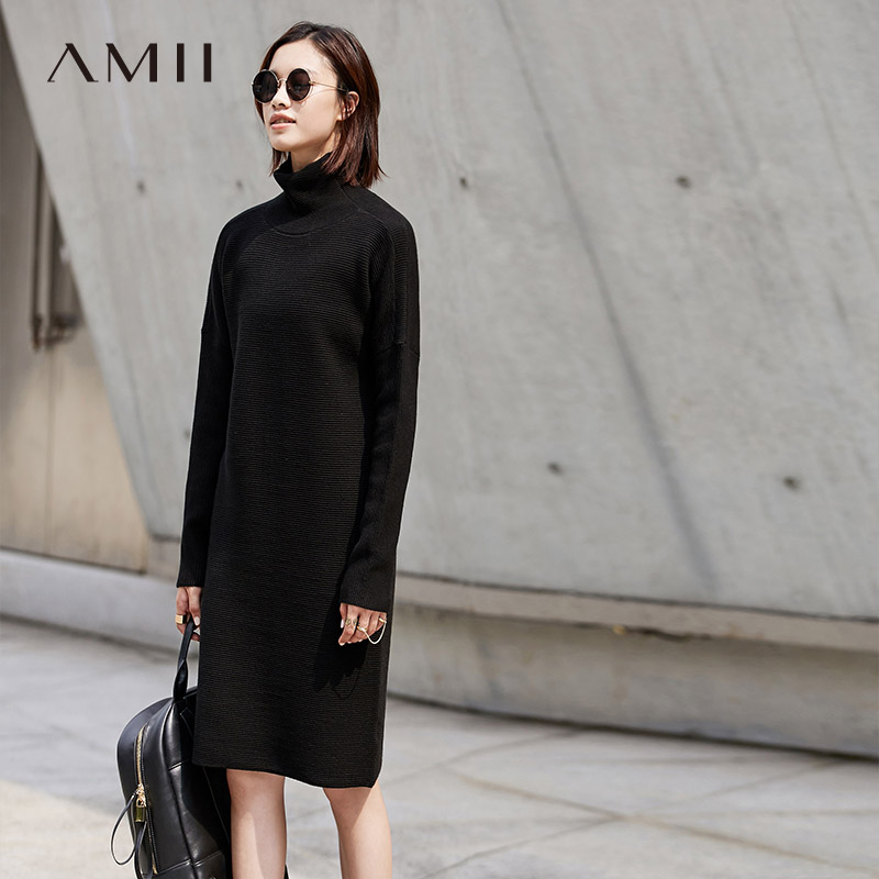 Amii Casual Women 2018 Winter Dress Solid Turtleneck Pullover Knee Length Knit Warm Female Dress