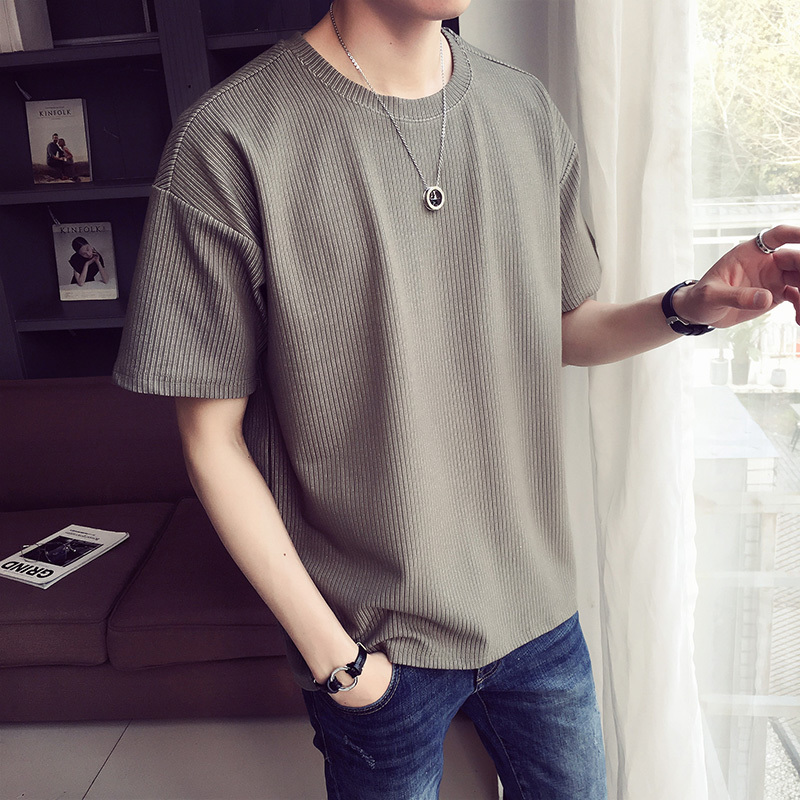 2018 fashion trend Stripe Easy Ins Plain Colour Short Sleeve T Pity Male Green The new listing Favourite Free shipping