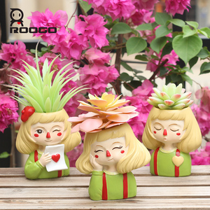 Image 5 - Roogo 유령 말 소녀 꽃 냄비 수지 Cachepot 귀여운 꽃 냄비 즙이 많은 장식 분재 냄비 홈 정원 장식