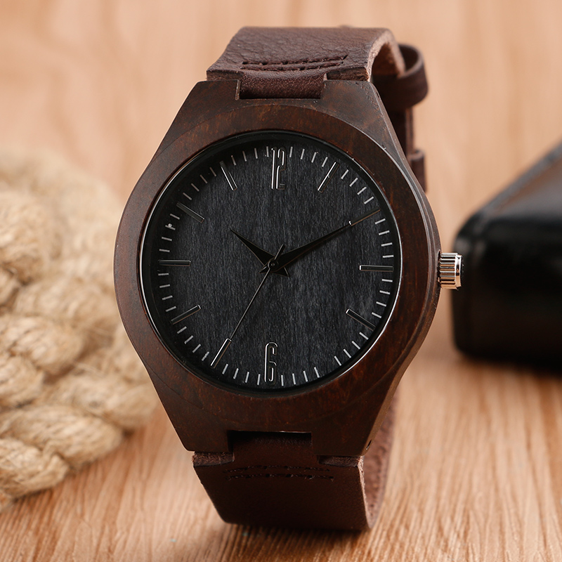 Men Watches Nature Bamboo Handmade Black Sandal Wood Watch Male Big Dial Genuine Leather ...