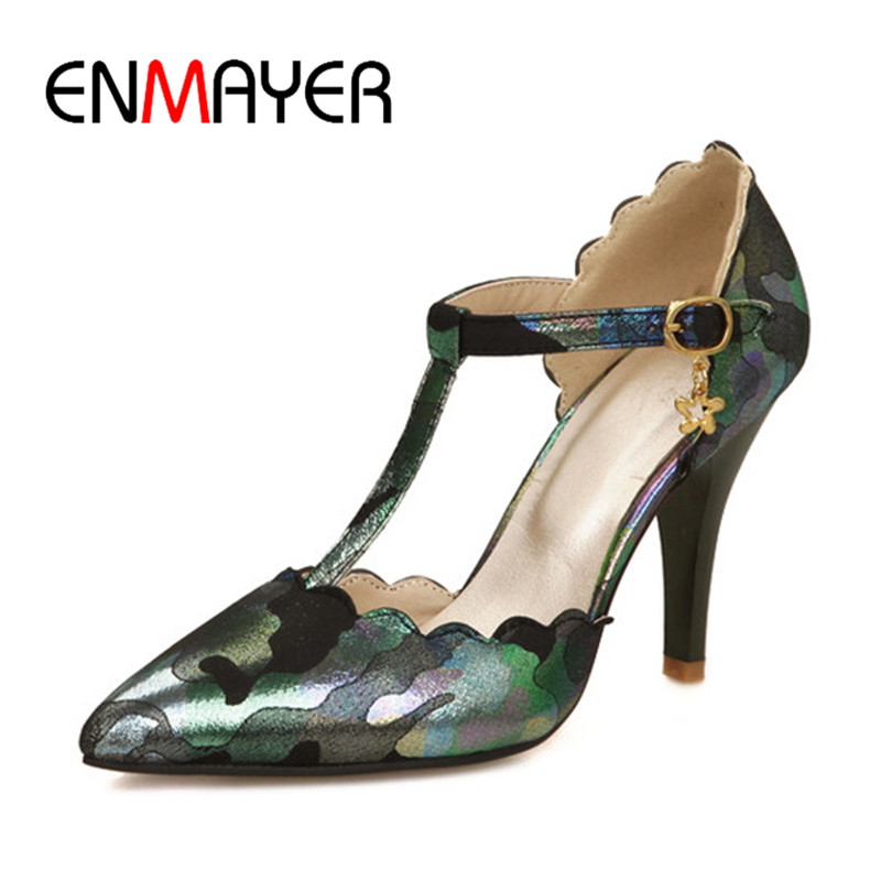 ENMAYER Womens Shoe Ankle Strap Shoe Pointed Toe Shoe7 9cm Metal Decoration Party Heel Slip-on Black Blue Beige Pink Shoe34-37 enmayer pointed toe summer shallow flats slip on luxury brand shoes women plus size 35 46 beige black flats shoe womens