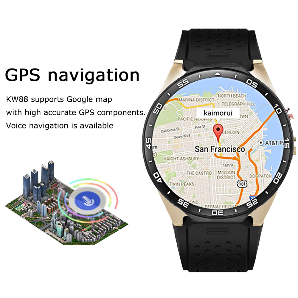 Riversong KW88 Smart Watch Android 5.1 MTK6580 Quad Core 1.3GHZ 1.39 Inch 512MB+4GB Smartwatch SIM Card GPS WiFi Call Reminder