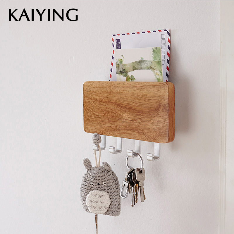 KAIYING Decorative Wooden Key Hook Rack Hanger,Mail, Letter and Key Holder Organizer for Entryway, Hallway, Foyer-Wall Mount kitchen towel hooks