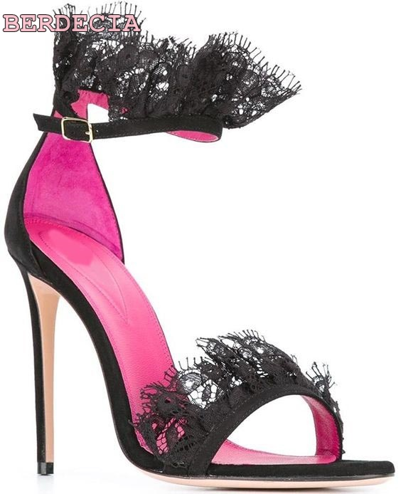 unique design nice black lace woman sandals open toe high heel ladies shoes sexy thin heel shoes elegant famale stiletto sandals top brand unique design black suede boots back front lace up fastening dress boots trendy ladies footwear thin high heel shoes