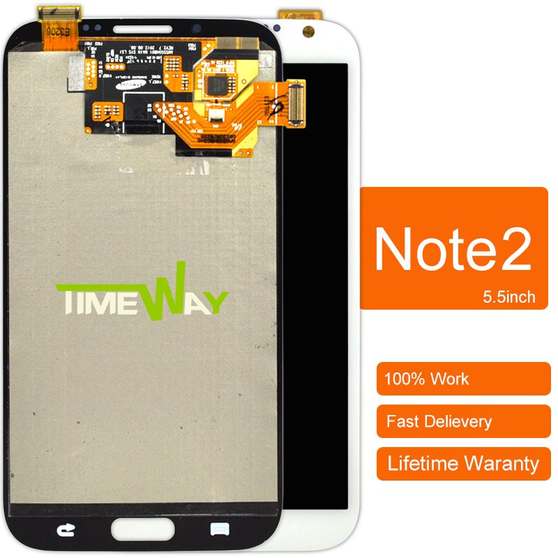 ФОТО 2pcs 100% Original For Samsung Note 2 Ii N7100 Lcd Screen With Touch Digitizer Assembly White And Grey