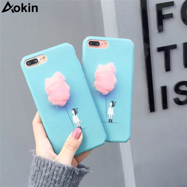 sale retailer 55e94 61555 US $4.09 |Aokin Cotton Candy Girl Case For iPhone 6 6s 7 7 Plus Lovely Cute  Funny Cartoon Case for iPhone 8 8 Plus SlimCoque For iPhone X-in Fitted ...