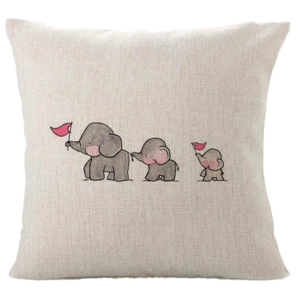 Fashion 2019 Pillow Three Baby Elephants Print Home Decor Linen Blend Pillow Cover Cute Animal Bed