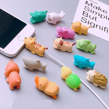 Cute Animal Cable Protector Cable For iPhone USB Cable Chompers Charger Wire Holder For iPhone 7 8 Plus X 6 Huawei P30 Pro Case image