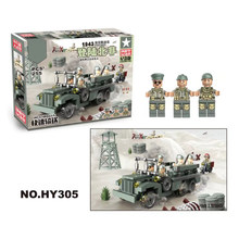 WW2 brickmania military figures 1943 Landing in North Africa W63 Dodge transporter block world war US army minifigs bricks toys(China)