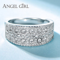Angel Girl 100 925 Sterling Silver Luxury Rings For Women Wedding Engagement Silver Ring Set Beauty