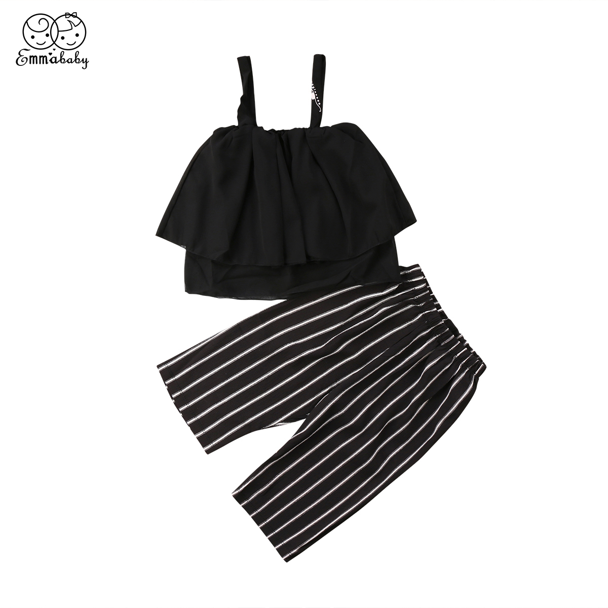 2018 new summer fashion Kids Baby Girls Chiffon off shoulder black Tops+Striped Pants Trousers 2pcs sweet Outfits Set Clothes