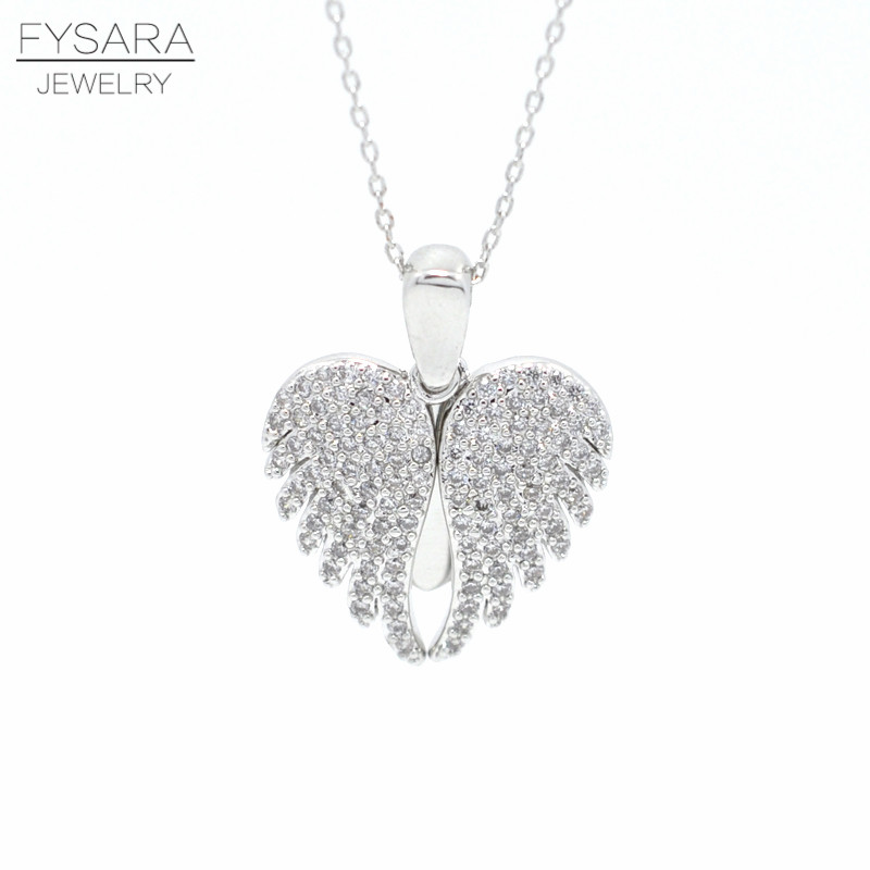 FYSARA Lyxig Angel Wing kort halsband för kvinnor AAA CZ Crystal Necklace & Pendent Love Heart Chain Silver Collar Party smycken