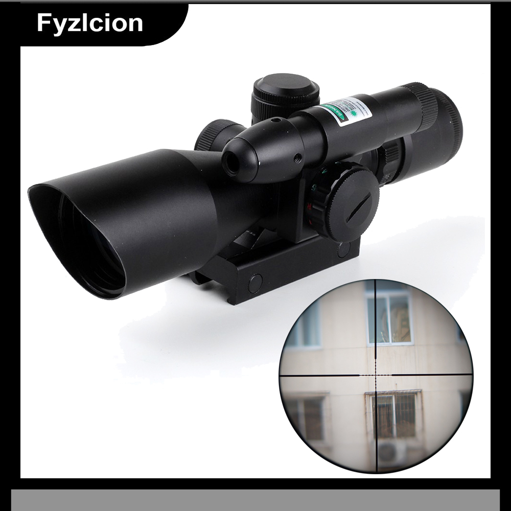 2.5-10X40 Red Green Illuminate Compact Tactical Hunting Rifle Scope w/ Integrated Green Laser Sight 11mm or 20mm Mount 2 5 10x40 tactical rifle scope w red laser