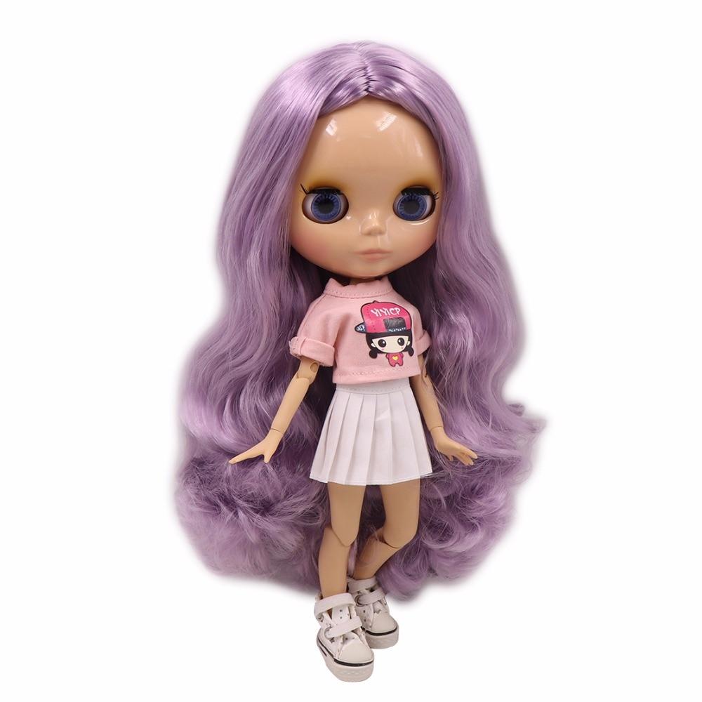 factory blyth doll tan skin joint body long purple hair 1 6 30cm 280BL1049