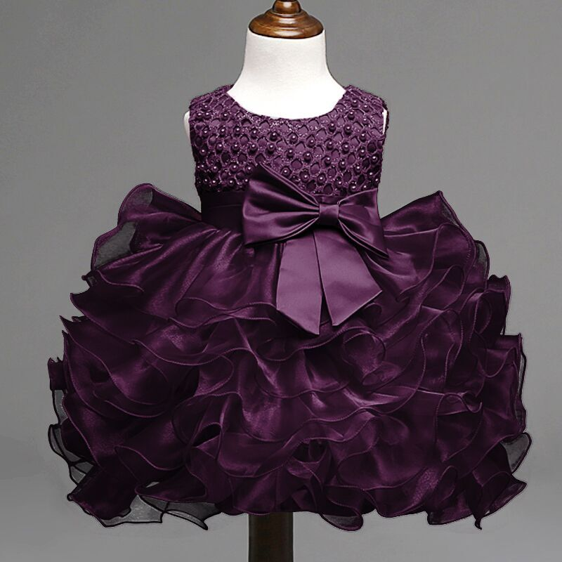 Summer Newborn Baby Girl Dress Purple Infant Princess Baptism Kids Dresses Clothes Toddler
