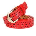 Rojo de la vendimia Diseñadores de Lujo Ahueca Hacia Fuera Hembra Marca Correa de Cuero de LA PU Vestido de Las Mujeres Cinturones de Alta Calidad para Los Pantalones Vaqueros