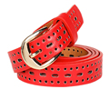 Vintage Red Designers Luxury Hollow Out Female Strap Brand PU Leather Dress Women Belts High Quality  for Jeans Pants