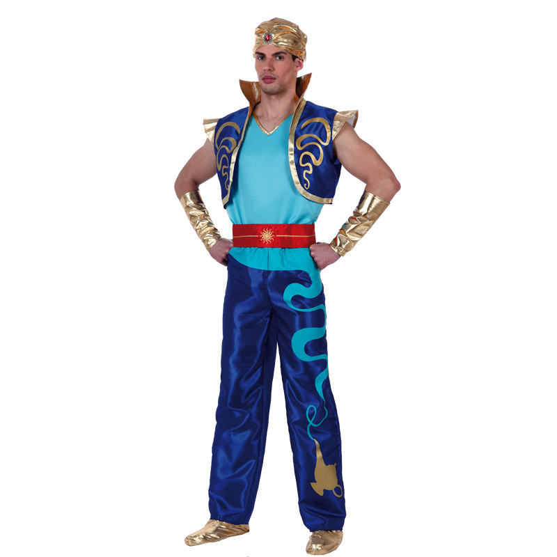 Boys Aladdin Prince Costumes Adult Man Arabian Lamp Jumpsuit Kids Father Carnival Party Halloween Cosplay Outftis CLothes