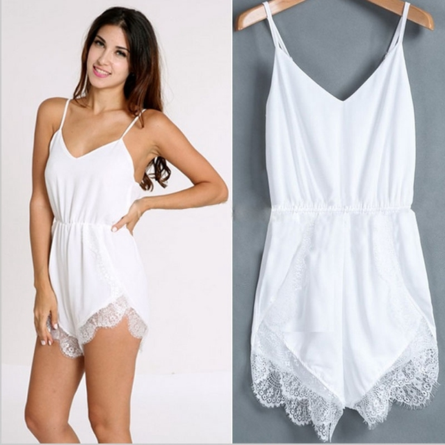 35a695ae69e 2018 Casual Strap Sleeveless Lace Chiffon Party Rompers womens jumpsuit  Rompers Playsuit Calcetines mujer cheap sexy solid color