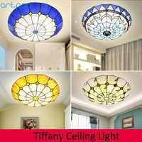 Artpad Dimmer Mediterráneo mosaico redondo luz de techo LED de vidrio de color lámpara de techo para mesitas de noche de dormitorio de sala de estar