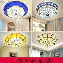Artpad Dimmer Mediterranean Mosaic Round Ceiling Light LED Stained Glass Lamp for Living Room Bedroom Bedside Fixtures