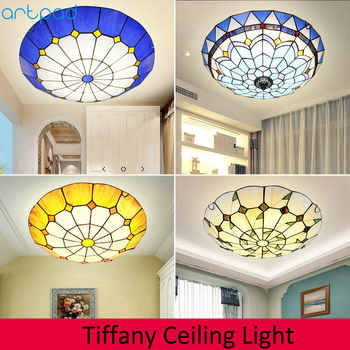 Artpad Dimmer Mediterranean Mosaic Round Ceiling Light LED Stained Glass Ceiling Lamp for Living Room Bedroom Bedside Fixtures - DISCOUNT ITEM  22% OFF All Category