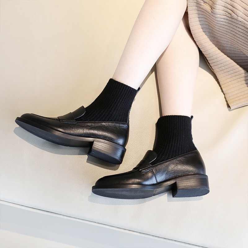 Donna-in kadınlar daireler kayma çorap ayakkabı hakiki deri yuvarlak ayak moda makosen ayakkabılar ayakkabı kadın zarif siyah Flats yeni 2020
