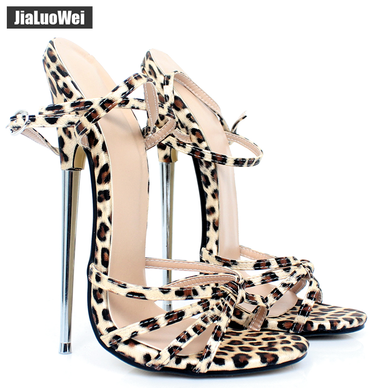 Jialuowei 2019 Fashion Women Sandals 7 High Thin Heel Ankle Straps Shoes Metal Heels Sexy Fetish
