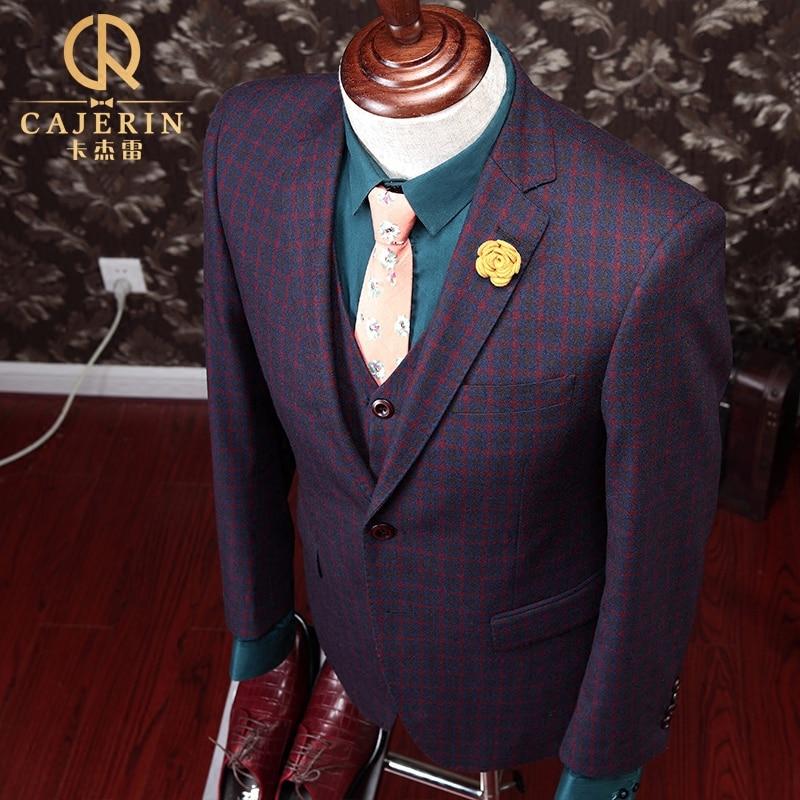 Carjerin 100% lana espesar caballeros boda caliente Trajes para ...
