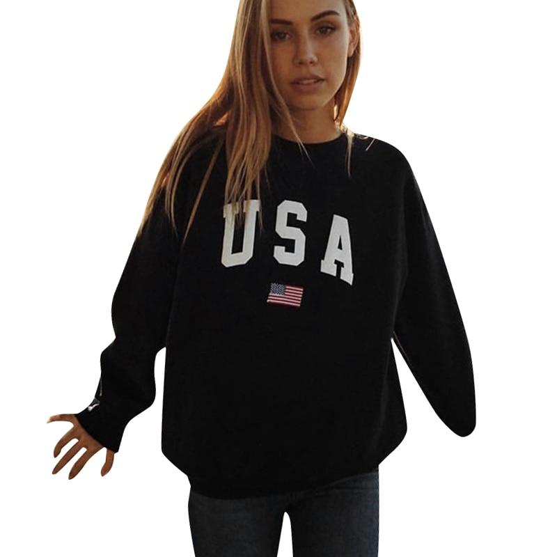 2019 Autumn Sweatshirt Korean Fashion Jumpers Women pullovers USA Letter Print Long Sleeve Casual Loose Pullover Tops Streetwear