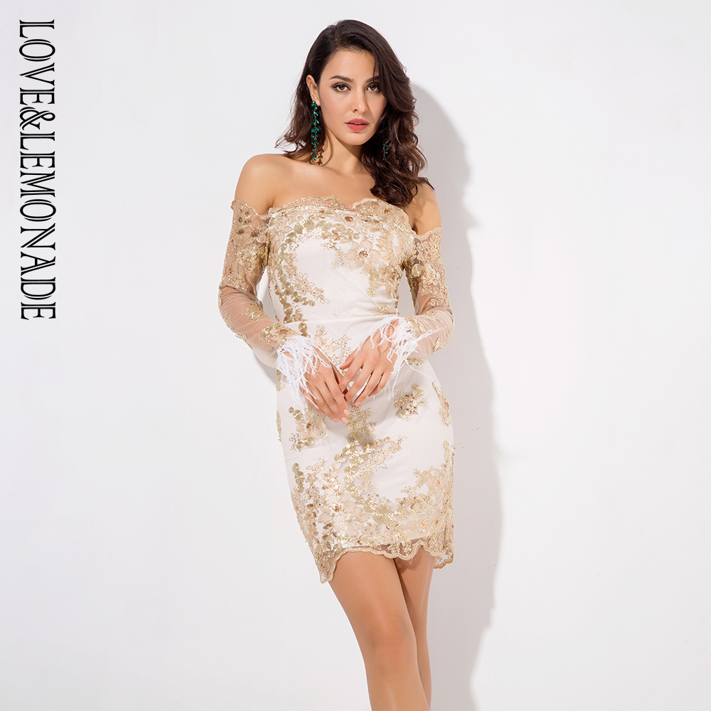 Love&Lemonade Word Collar Gold Lace Stitching Feather Trim Slim Dress LM0661