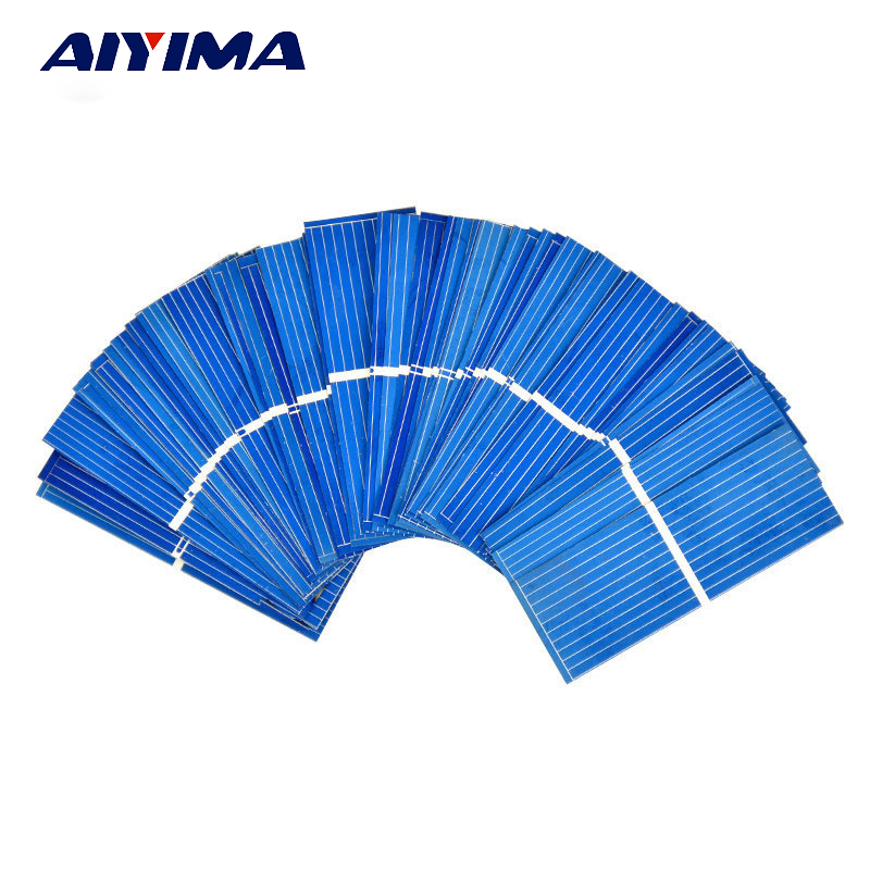 AIYIMA 100pcs 52x19mm Polycrystalline Silicon solar cell for DIY solar panel DIY cells
