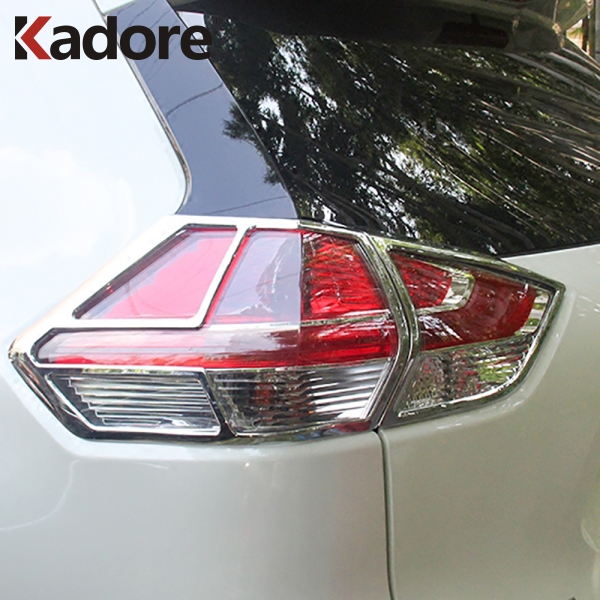 For Nissan X Trail Rogue 2014 2016 Chrome Taillight Lamp Cover Trim Rear Light Frame Stickers