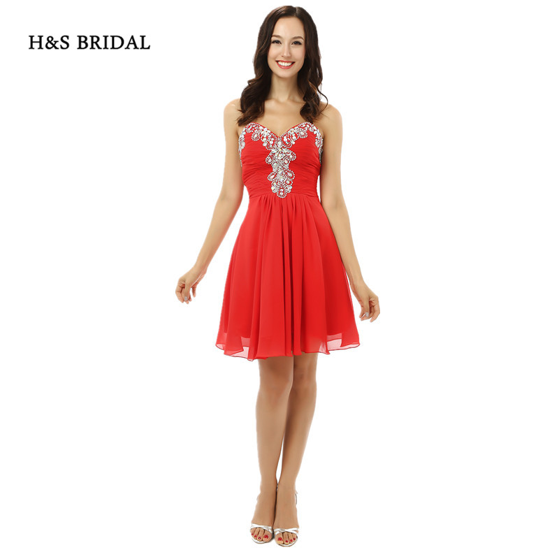 H&S BRIDAL Strapless Sweetheart Girls Party Homecoming   Dresses   Short Red Chiffon Crystals   Cocktail     Dresses