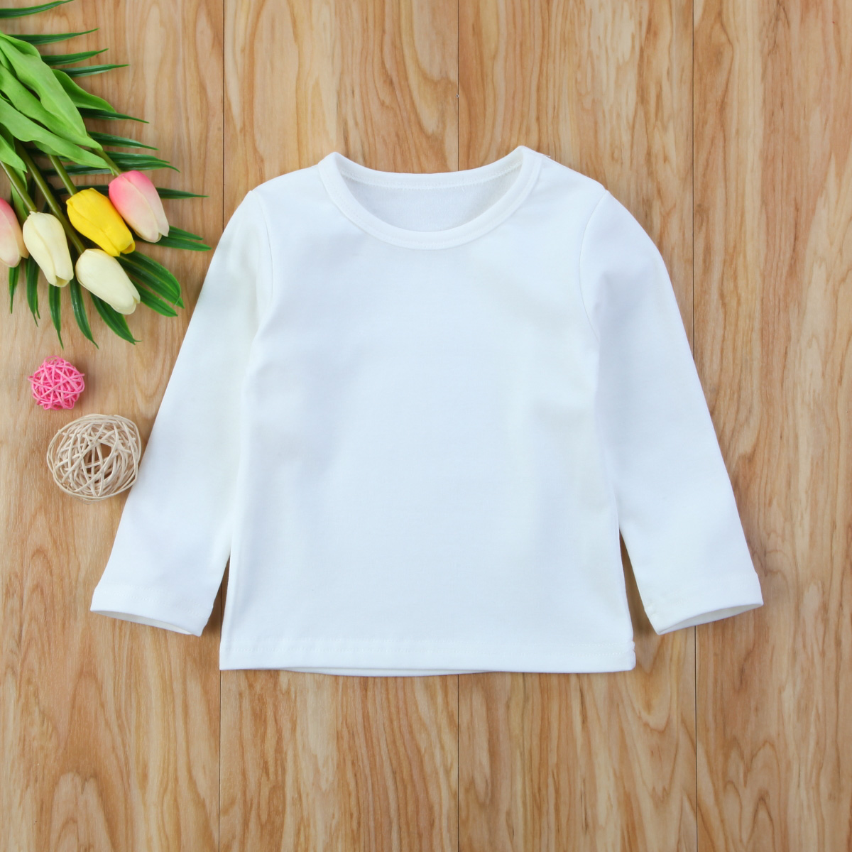Autumn Cotton Newborn Infant Kids Baby Boys Girls Clothes Solid Cotton Soft Clothing Long Sleeves T-shirt Tops 13